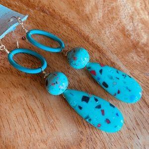 Anthropologie Aqua Drop Earrings - Brand New